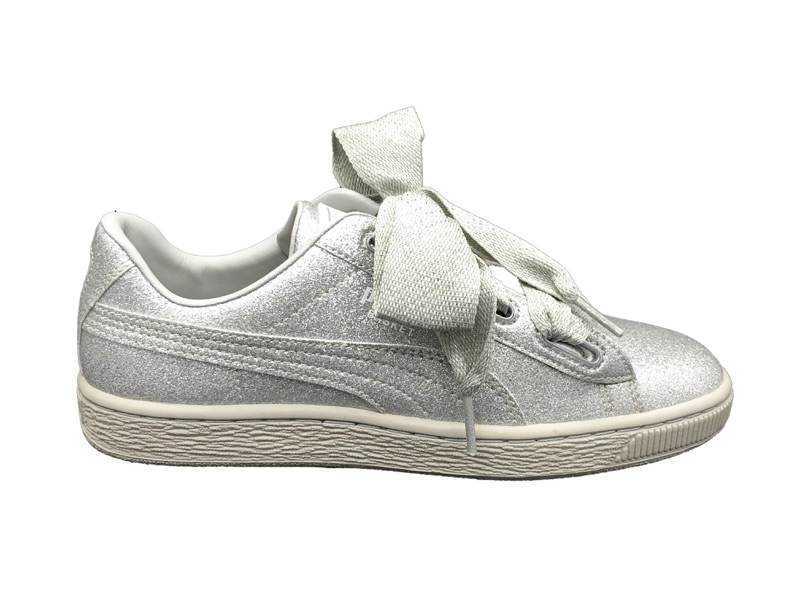 PUMA SNEAKERS BASKET HEART HOLIDAY GLAMOUR JR grey GLITTER 367630-03