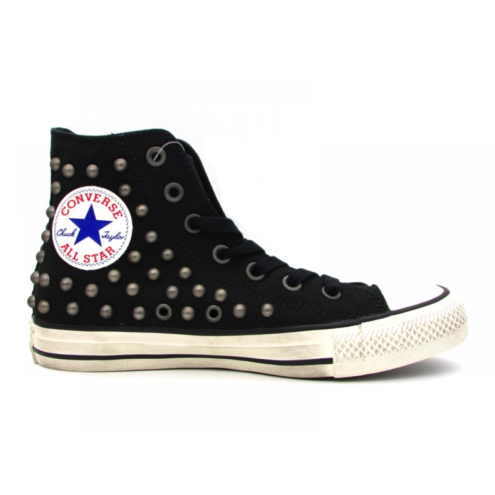 CONVERSE CTAS DISTRESSED HI SNEAKERS NERO BORCHIATO BIANCO 160958C