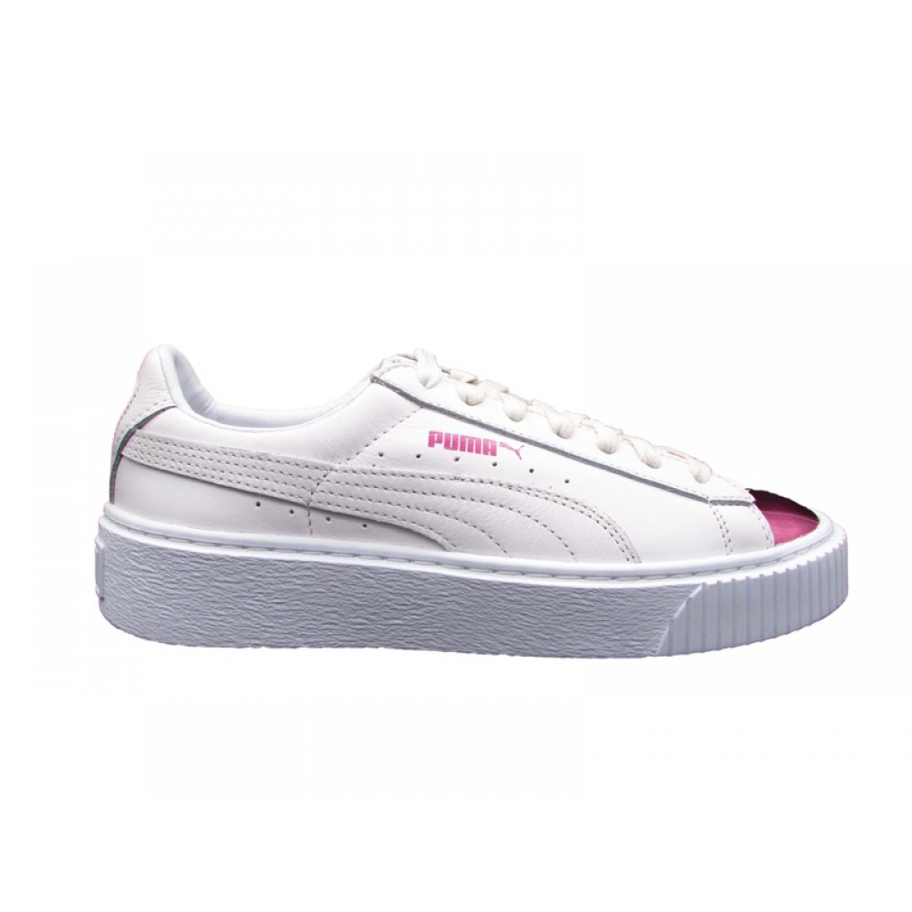 PUMA BASKET PLATFORM METALLIC SNEAKERS BIANCO ROSA METALLIC 366169 04