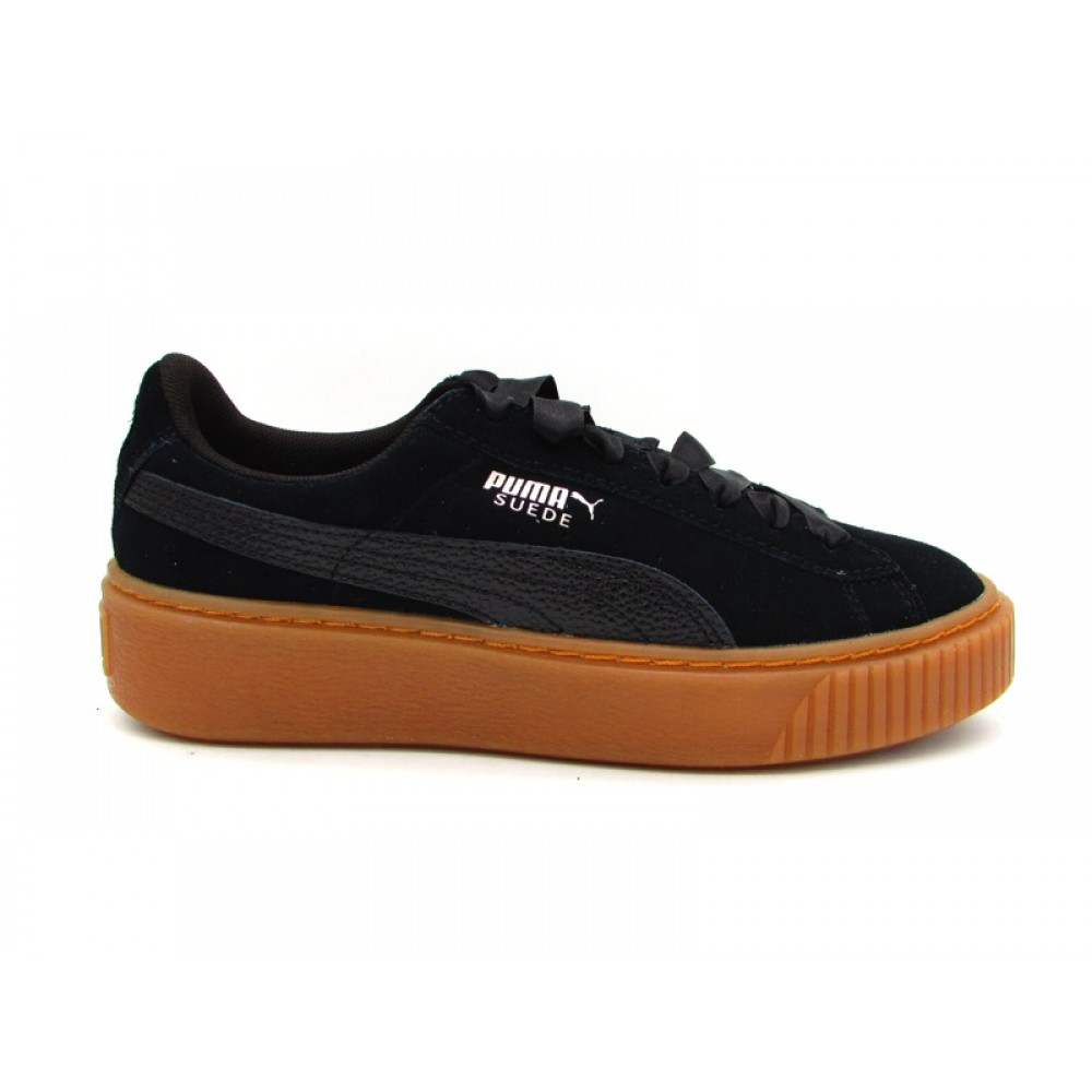 PUMA SUEDE PLATFORM BUBBLE WN'S SNEAKERS NERO MARRONE 366439 01