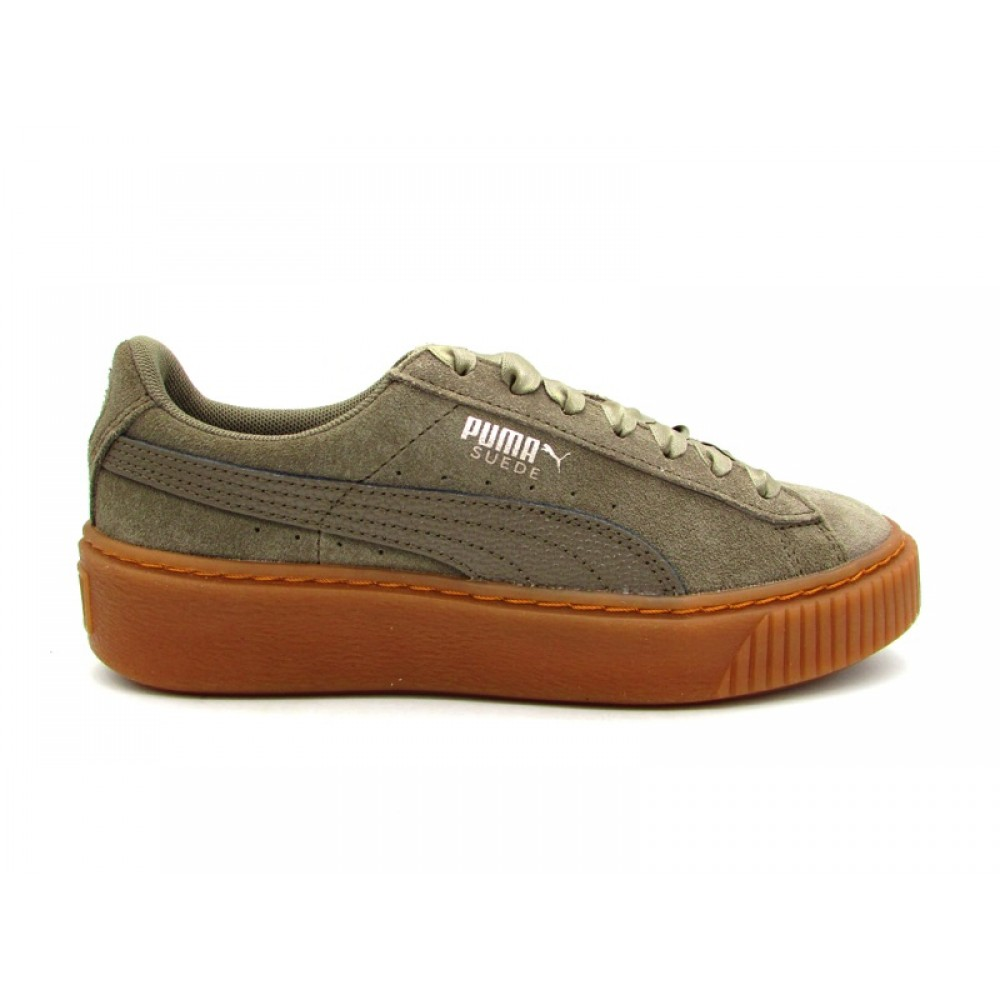 PUMA SUEDE PLATFORM BUBBLE WN'S SNEAKERS GRIGIO MARRONE 366439 03