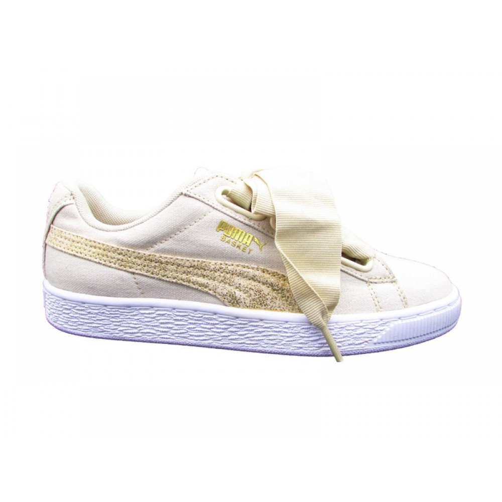 PUMA BASKET HEART CANVAS WN'S SNEAKERS BEIGE BIANCO 366495 01
