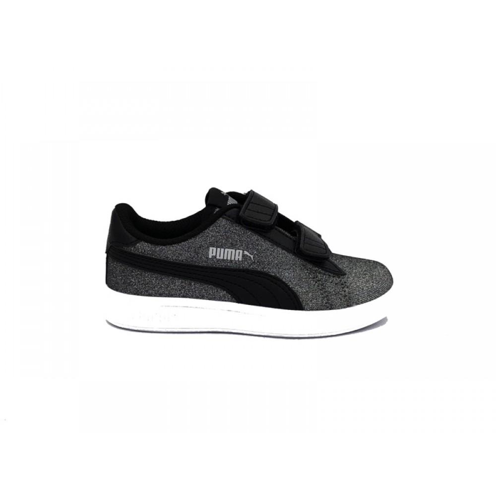 PUMA SNEAKERS SMASH V2 GLITZ GLAMV PS BLACK SILVER 367378 05