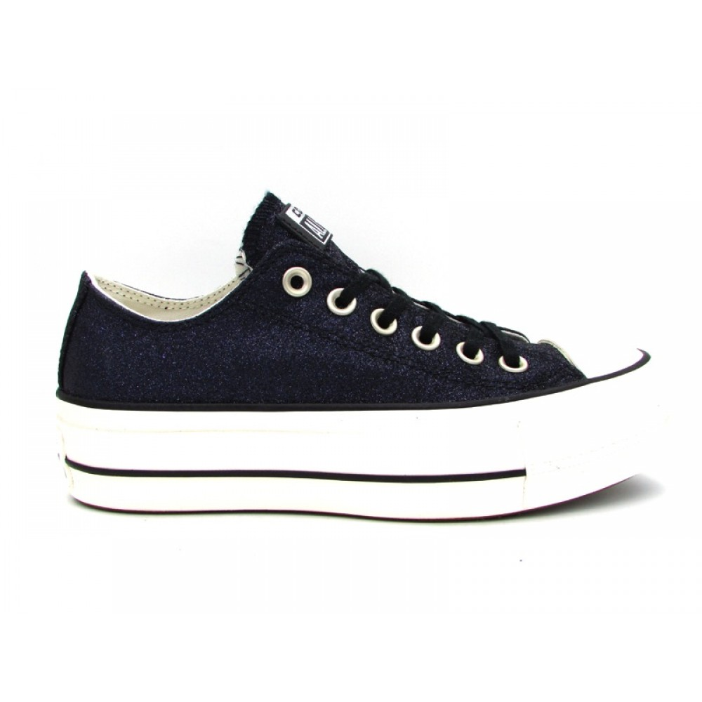 CONVERSE SNEAKERS CTAS CLEAN LIFT OX NERO GLITTER 561040C