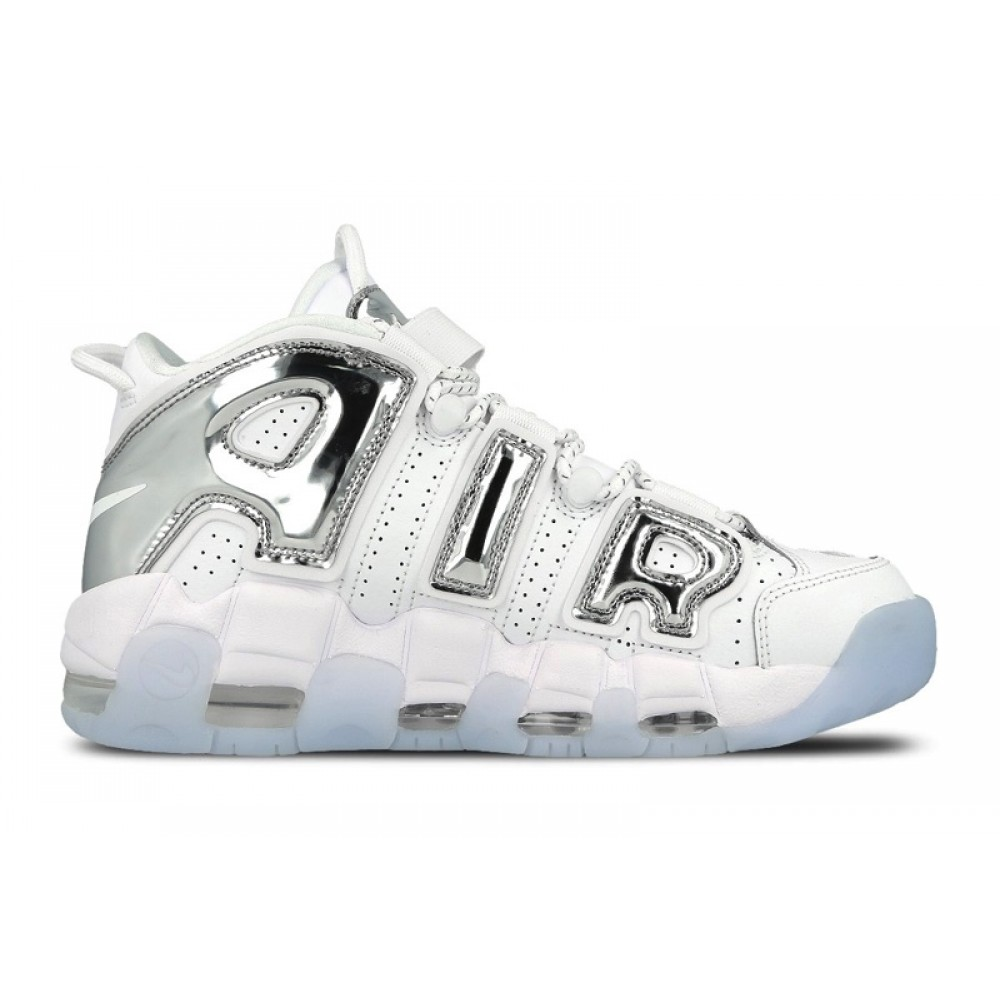NIKE W AIR MORE UPTEMPO SNEAKERS BIANCO ARGENTO 917593 100
