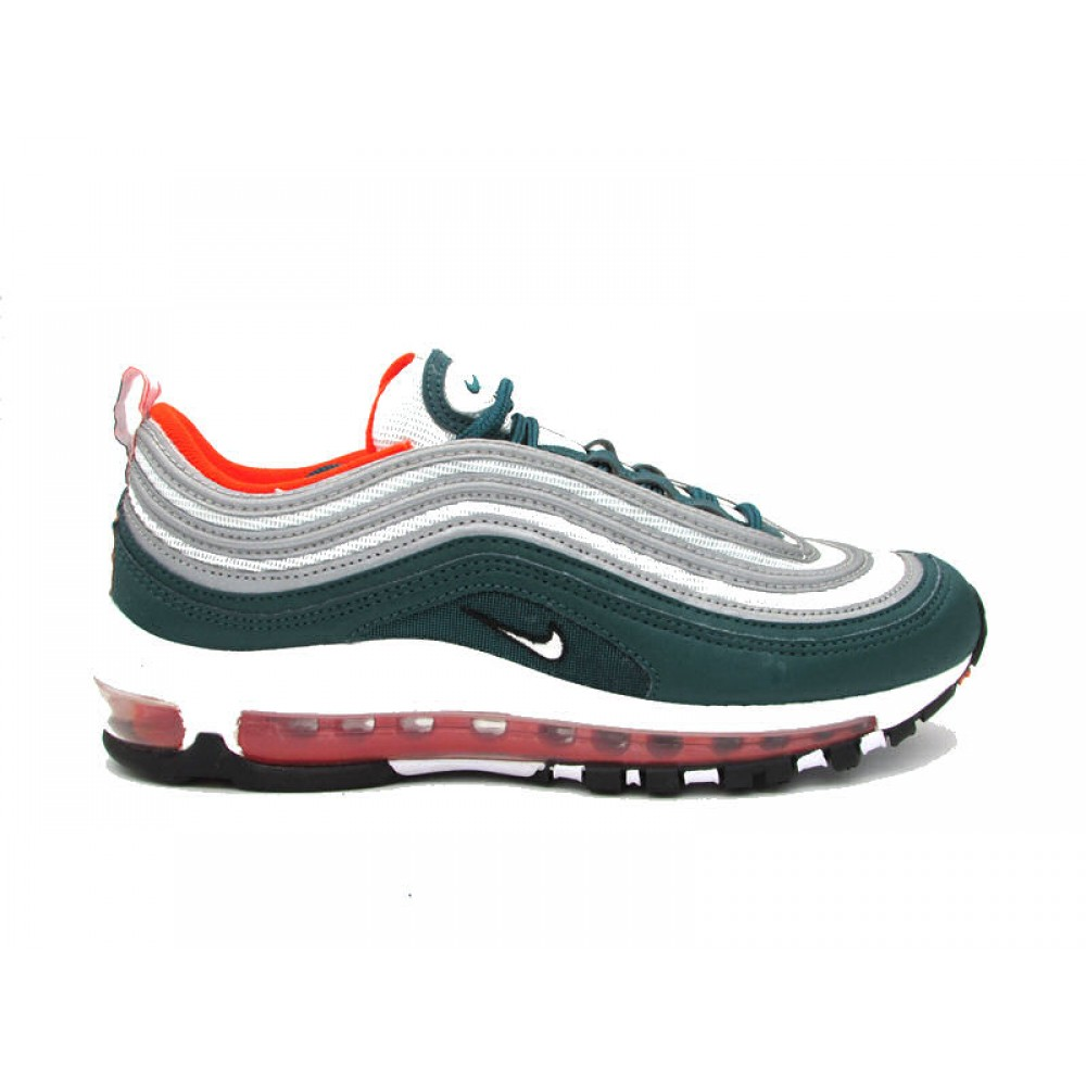 the best attitude 89ece 9a887 NIKE AIR MAX 97 SNEAKERS VERDE ARGENTO BIANCO ARANCIONE 921826-300