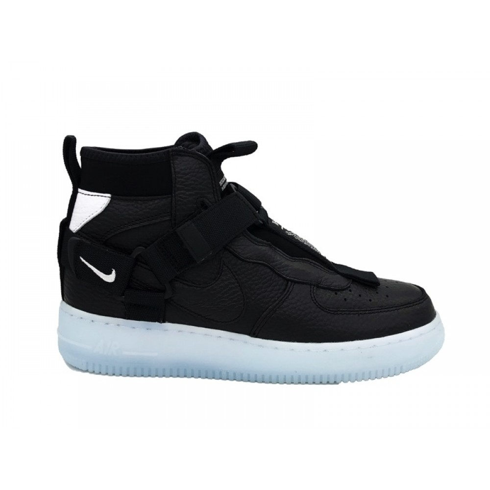 NIKE AIR FORCE 1 UTILITY MID SNEAKERS NERO CELESTE BIANCO