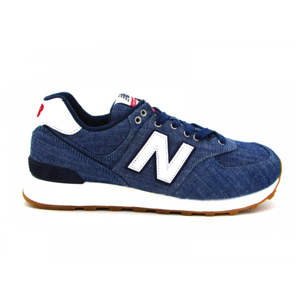NEW BALANCE 574 SNEAKERS BLU JEANS BIANCO ML574YLE