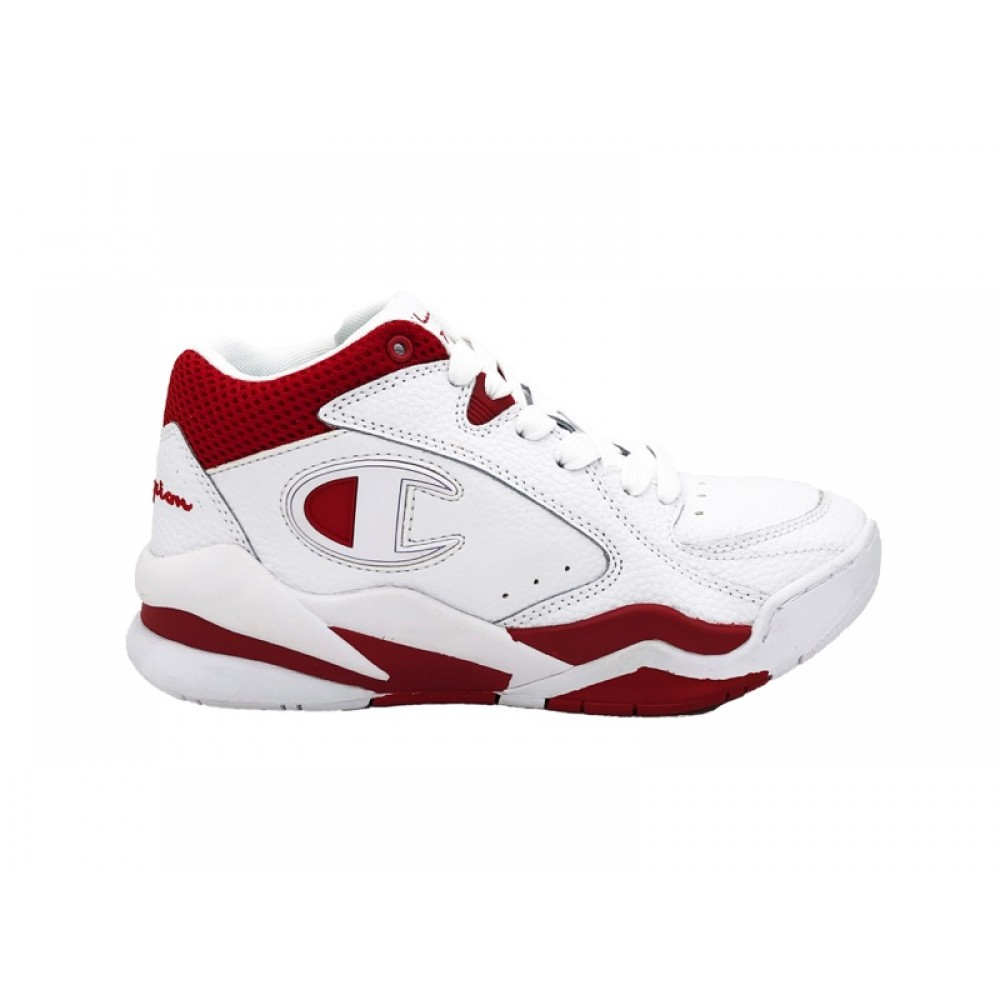 CHAMPION SNEAKERS ZONE MID LEATHER BIANCO WHITE RED S10656