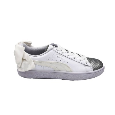 PUMA SNEAKERS BASKET BOW COATED GLAM JR WHITE SILVER  368983-01