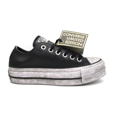 CONVERSE CTAS LIFT LEATHER LTD OX SNEAKERS NERO BIANCO VINTAGE 562910C