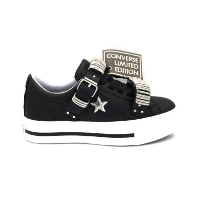 CONVERSE SNEAKERS ONE STAR LEATHER PLATFORM LTD NERO BIANCO 562922C
