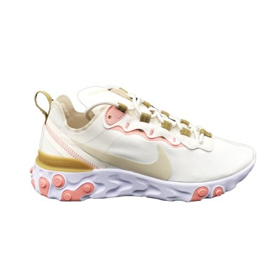 NIKE W REACT ELEMENT 55 SNEAKERS BIANCO ROSA ORO BQ2728-007
