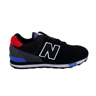 NEW BALANCE 574 SNEAKERS NERO ROSSO CELESTE BIANCO GC574JHO