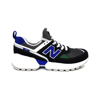 NEW BALANCE 574 SNEAKERS GRIGIO NERO BLU PS574SL