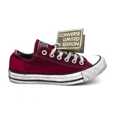 CONVERSE CTAS CANVAS LTD OX SNEAKERS BORDEAUX BIANCO 160153C