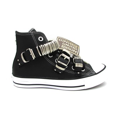 CONVERSE SNEAKERS CTAS LEATHER LTD HI NERO BIANCO 162891C