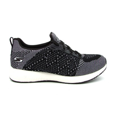 SKECHERS HOT SPARK SNEAKERS NERO BIANCO BRILLANTATO 31368-BLK