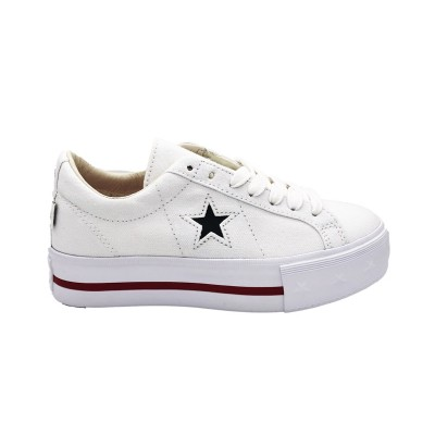 CONVERSE SNEAKERS ONE STAR PLATFORM OX BIANCO NERO ROSSO 564030C