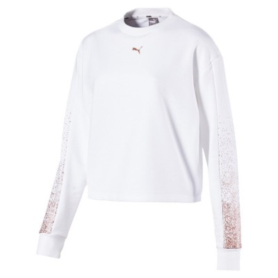 PUMA HOLIDAY PACK CREW SWEAT FL WMNS BIANCO ROSA 581856-02