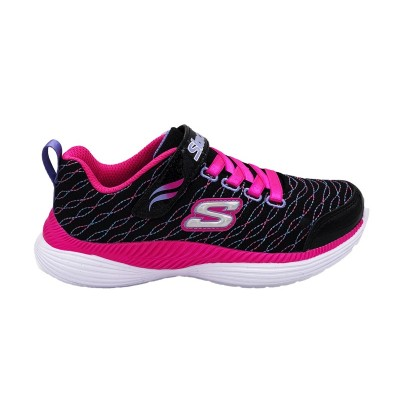 SKECHERS MOVE'N GROOVE SPARKLE SPINNER SNEAKERS NERO BIANCO VIOLA ROSA 83017L-BKNP
