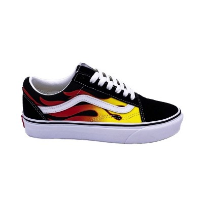 VANS OLD SKOOL FLAME SNEAKERS NERO BIANCO 8G1PHN