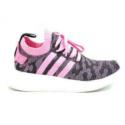 ADIDAS NMD_R2 PK W SNEAKERS ROSA NERO BIANCO BY9521