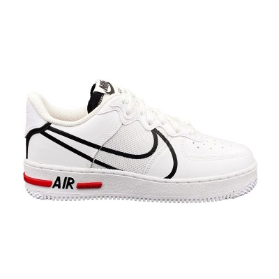 NIKE AIR FORCE 1 REACT SNEAKERS BIANCO NERO ROSSO CD4366-100