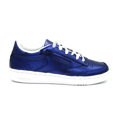 REEBOK CLUB C 85 S SHINE SNEAKERS BLU METALLIC BIANCO CM8687
