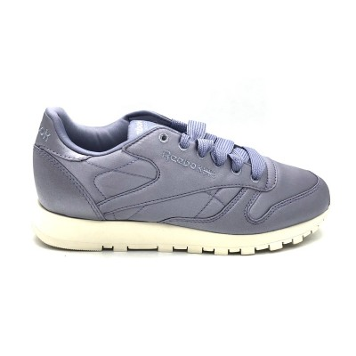 REEBOK CL LTHR SATIN WOMEN SNEAKERS VIOLA BIANCO CM9801