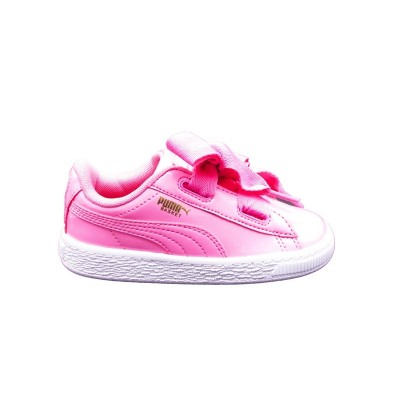 PUMA SNEAKERS BASKET HEART PATENT INF ROSA BIANCO 363353-03